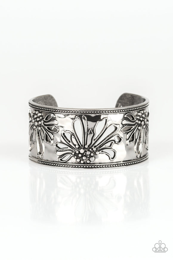 Paparazzi Where The WILDFLOWERS Are - Silver - Hammered Cuff Bracelet