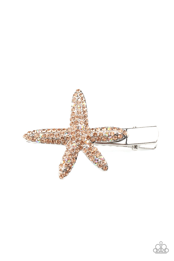 Paparazzi Wish On a STARFISH - Orange Rhinestones - Hair Clip