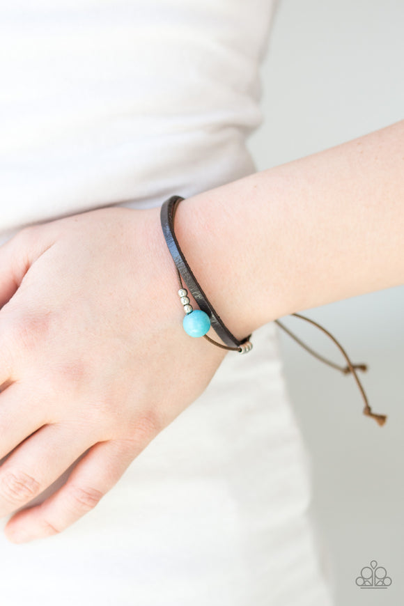 Paparazzi Balance - Blue Turquoise Stone - Leather Bracelet - Lauren's Bling $5.00 Paparazzi Jewelry Boutique