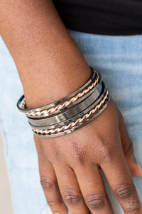 Paparazzi Basic Blend - Multi - Gunmetal and Rose Gold - Set of 7 Bangle Bracelets - Lauren's Bling $5.00 Paparazzi Jewelry Boutique