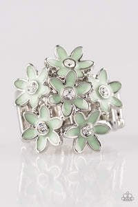 Paparazzi Blooming Bouquets - Green Daisy - Rhinestones - Silver Ring - Lauren's Bling $5.00 Paparazzi Jewelry Boutique