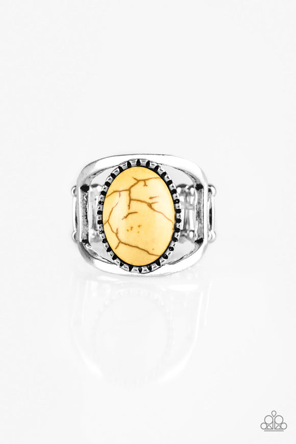 Paparazzi Canyon Cache - Yellow Stone - Silver Bars - Ring - Lauren's Bling $5.00 Paparazzi Jewelry Boutique