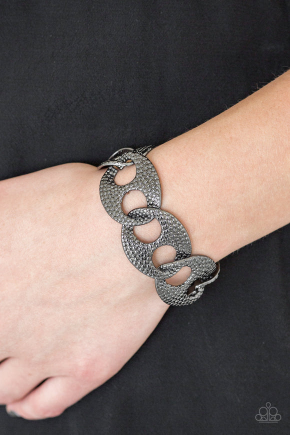 Paparazzi Casual Connoisseur - Black - Gunmetal Links - Bold Bracelet - Lauren's Bling $5.00 Paparazzi Jewelry Boutique