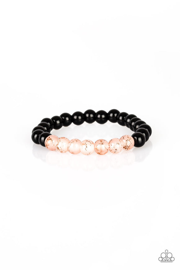 Paparazzi Cool and Content - Pink - Black Beads - Stretchy Band - Bracelet - Lauren's Bling $5.00 Paparazzi Jewelry Boutique