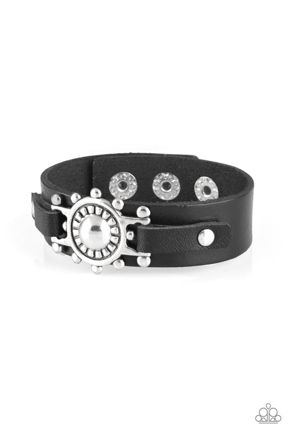 Paparazzi Courageously Captain - Black - Leather Band - Silver Nautical Pendant - Bracelet - Lauren's Bling $5.00 Paparazzi Jewelry Boutique