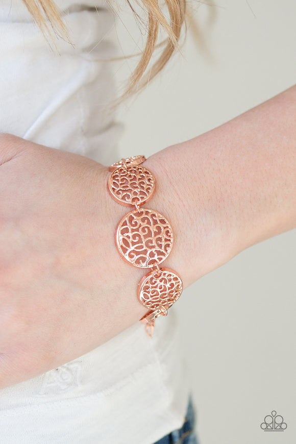 Paparazzi Dream WHIRL - Copper - Filigree Shiny Frames - Adjustable Bracelet - Lauren's Bling $5.00 Paparazzi Jewelry Boutique