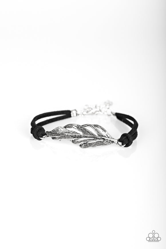 Paparazzi Faster Than FLIGHT - Black Suede Knot - Silver Feather Bracelet - Lauren's Bling $5.00 Paparazzi Jewelry Boutique
