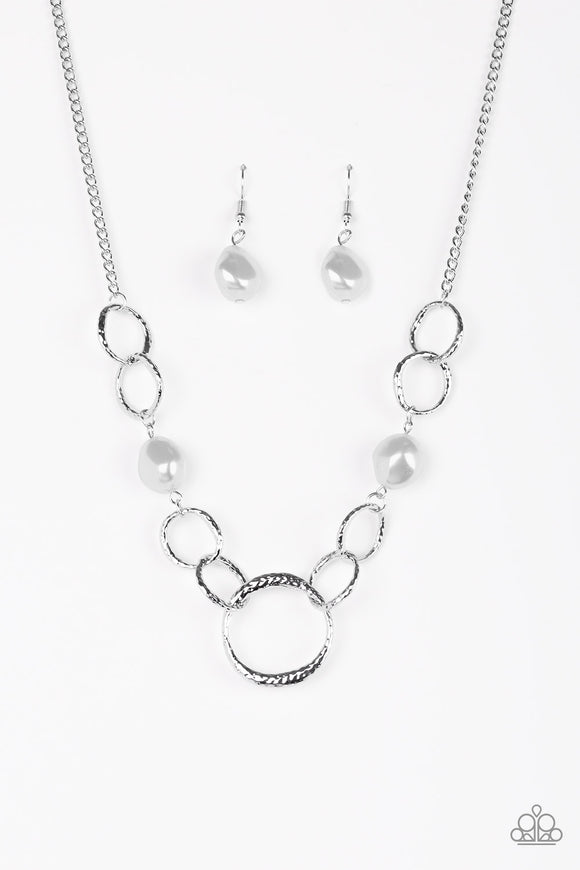 Paparazzi Lead Role - Silver - Pearly Pebbles - Hammered Silver Rings - Necklace and matching Earrings - Lauren's Bling $5.00 Paparazzi Jewelry Boutique