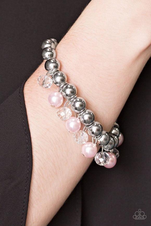 Paparazzi Once In A Millennium - Pink Pearls - Silver Stretchy Bracelet - Lauren's Bling $5.00 Paparazzi Jewelry Boutique