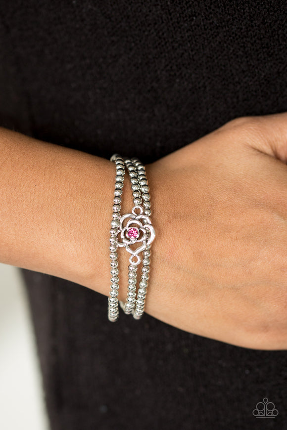 Paparazzi Perennial Princess - Pink Rhinestones - Silver Rose - Set of 3 Bracelets - Lauren's Bling $5.00 Paparazzi Jewelry Boutique