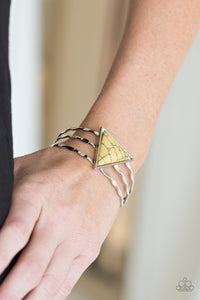 Paparazzi Put Up A FRONTIER - Yellow Stone - Hammered Silver Cuff - Bracelet - Lauren's Bling $5.00 Paparazzi Jewelry Boutique