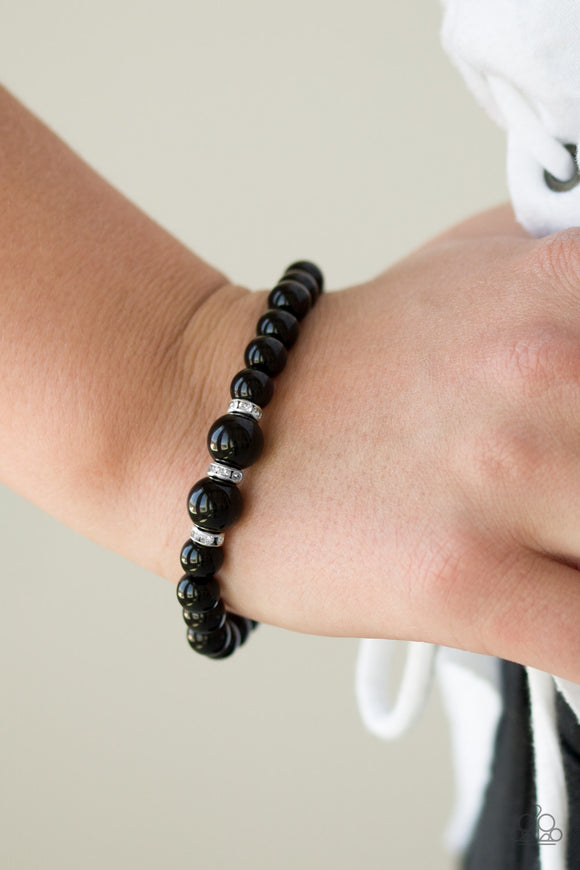 Paparazzi Radiantly Royal - Black - White Rhinestones - Stretchy Bracelet - Lauren's Bling $5.00 Paparazzi Jewelry Boutique