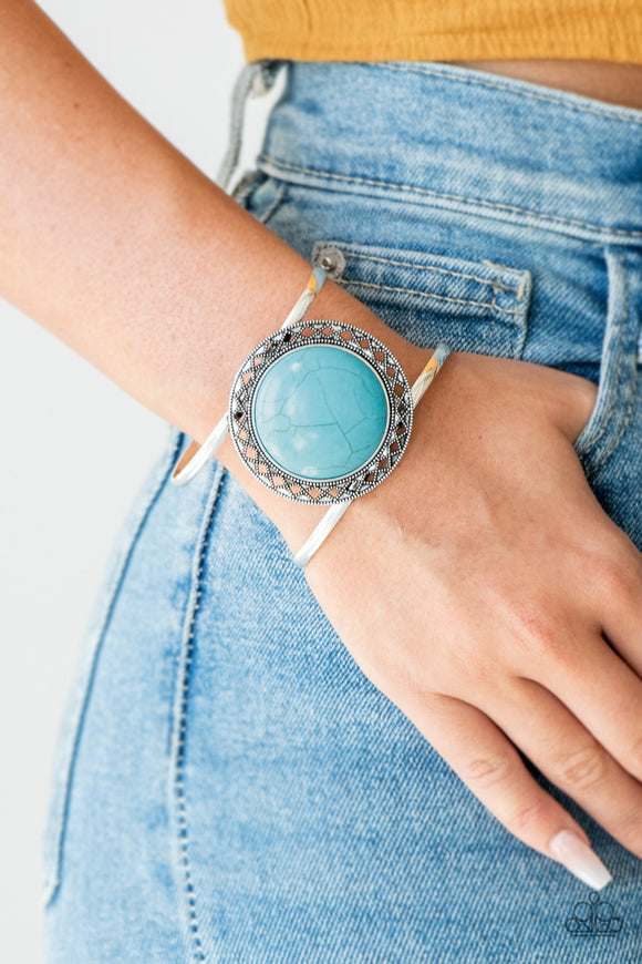 Paparazzi RODEO Rage - Blue - Turquoise Stone - Shimmer Silver Cuff Bracelet - VINTAGE! - Lauren's Bling $5.00 Paparazzi Jewelry Boutique