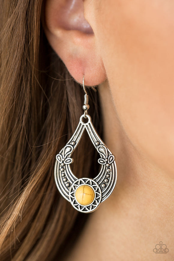 Paparazzi Sol Sonata - Yellow Stone - Silver Studded Sunburst - Earrings - Lauren's Bling $5.00 Paparazzi Jewelry Boutique