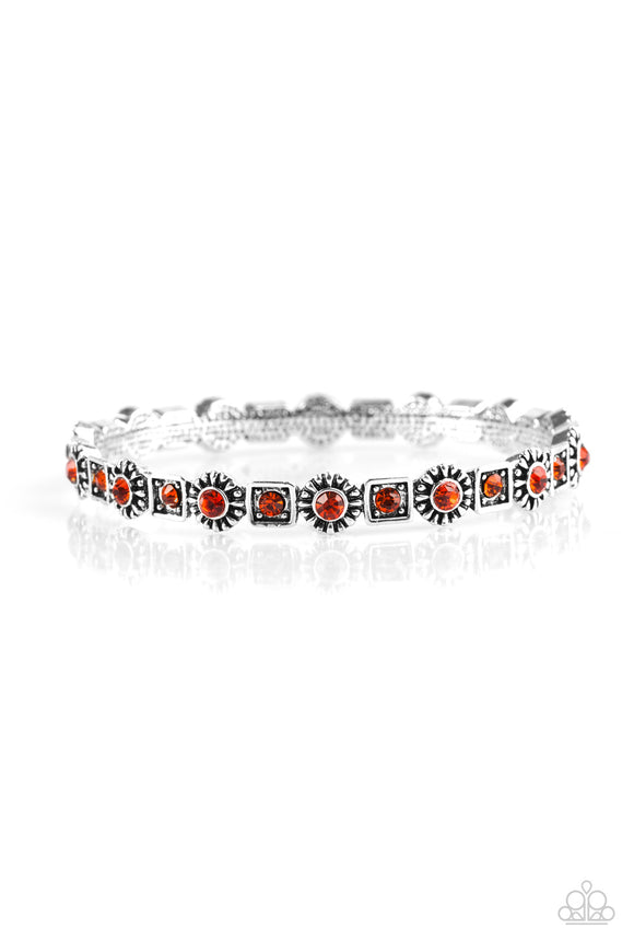 Paparazzi Spring Inspiration - Orange Rhinestones - Silver Floral Bangle Bracelet - Lauren's Bling $5.00 Paparazzi Jewelry Boutique