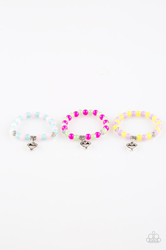 Paparazzi Starlet Shimmer Girls Bracelets - 10 - Multi with Hearts - Blue, Pink, Yellow, Coral - Lauren's Bling $5.00 Paparazzi Jewelry Boutique