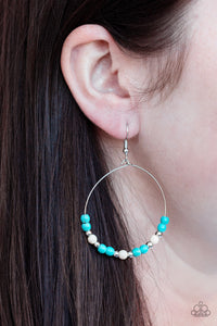 Paparazzi Stone Spa - Multi - Turquoise and White Stones - Silver Hoop Earrings - Lauren's Bling $5.00 Paparazzi Jewelry Boutique