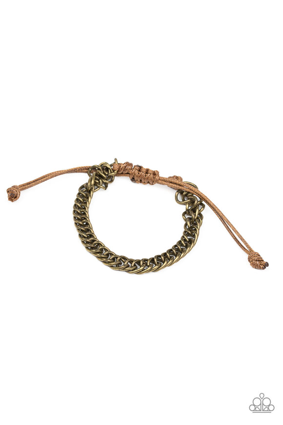 Paparazzi AWOL - Brass - Curb Chain - Brown Cording - Sliding Knot Bracelet