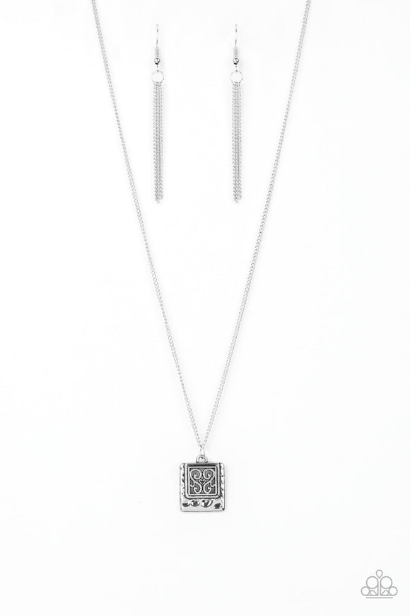 f7ada0441 Paparazzi Back To Square One - Silver Filigree Frame - Necklace and  matching Earrings