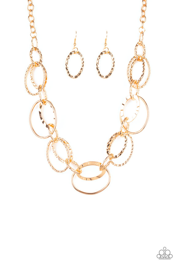 Paparazzi Bend OVAL Backwards - Gold - Hammered and Textured Oval Hoops - Necklace and matching Earrings - Lauren's Bling $5.00 Paparazzi Jewelry Boutique