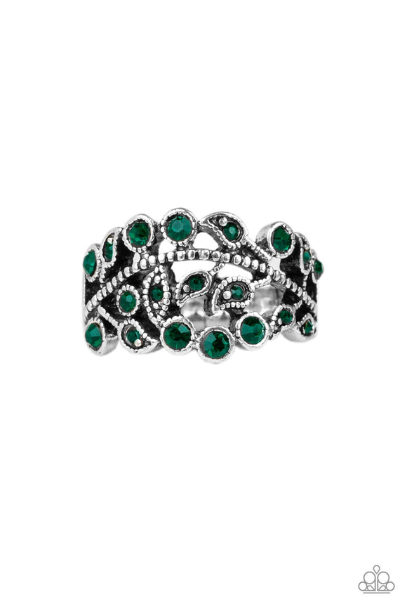 Paparazzi Bling Swing - Green Rhinestones - Leafy Silver Bands - Dainty Band Ring