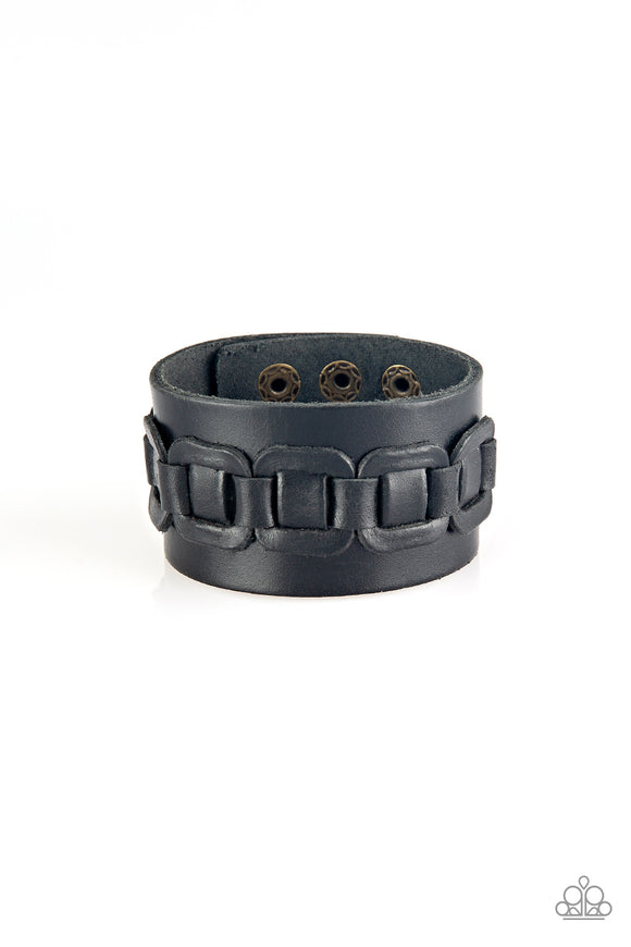 Paparazzi Dont Tread On Me - Black - Thick Leather Band - Bracelet