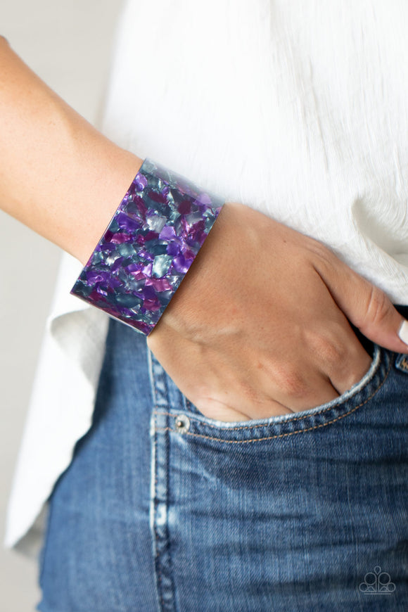 Paparazzi Freestyle Fashion - Purple - Tortoise Shell Thick Acrylic Cuff Bracelet - Lauren's Bling $5.00 Paparazzi Jewelry Boutique