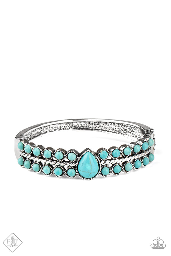 Paparazzi Nature Resort - Blue - Hinged Bracelet - Trend Blend / Fashion Fix Exclusive - October 2020