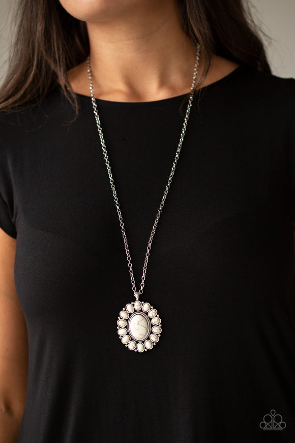 Paparazzi Rancho Roamer -  White Stones - Silver Necklace and matching Earrings - Lauren's Bling $5.00 Paparazzi Jewelry Boutique