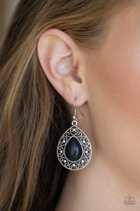 Paparazzi Stone Story - Black - Silver Teardrop - Earrings - Lauren's Bling $5.00 Paparazzi Jewelry Boutique