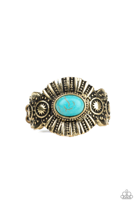 Paparazzi Thirst Quencher - Brass - Turquoise Stone - Dainty Band Ring - Lauren's Bling $5.00 Paparazzi Jewelry Boutique