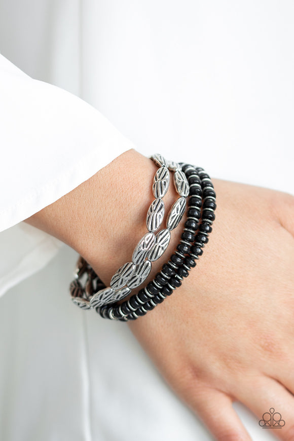 Paparazzi Wild Wonder - Black Beads - Silver Beads - Set of 4 Bracelets - Lauren's Bling $5.00 Paparazzi Jewelry Boutique
