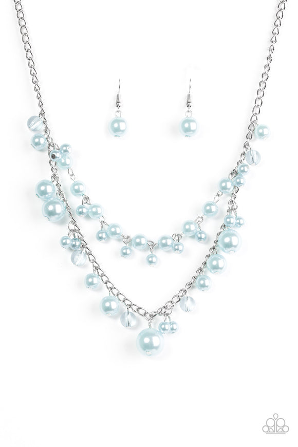 Paparazzi Blissfully Bridesmaid - Blue Pearls - Silver Necklace and matching Earrings - Lauren's Bling $5.00 Paparazzi Jewelry Boutique