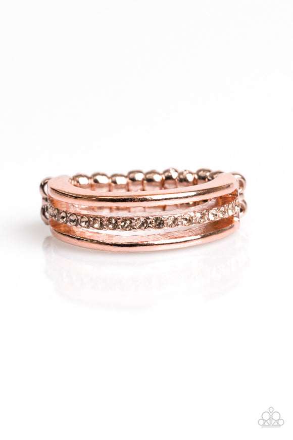 Paparazzi Center Court - Copper - Glittery Rhinestones - Dainty Band Ring - Lauren's Bling $5.00 Paparazzi Jewelry Boutique