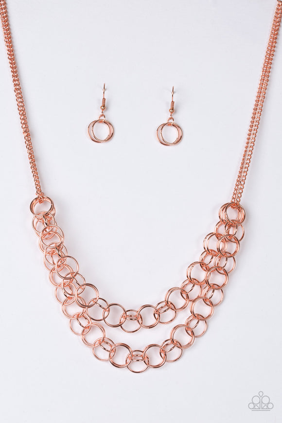 Paparazzi Circus Tent Tango - Copper - Rows of Shiny Copper Rings - Necklace and matching Earrings - Lauren's Bling $5.00 Paparazzi Jewelry Boutique