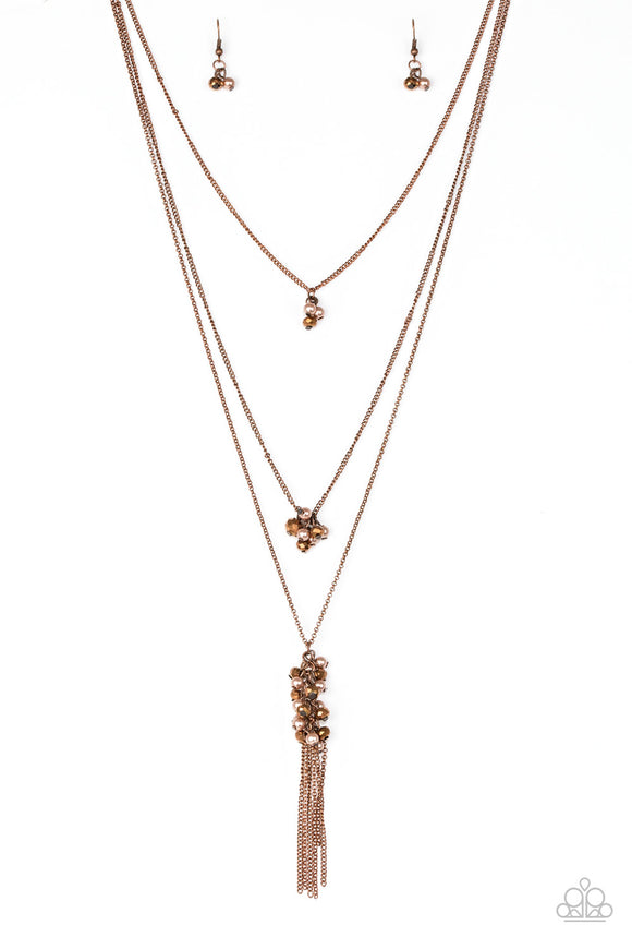 Paparazzi Crystal Cruiser - Copper - Necklace and matching Earrings - Lauren's Bling $5.00 Paparazzi Jewelry Boutique