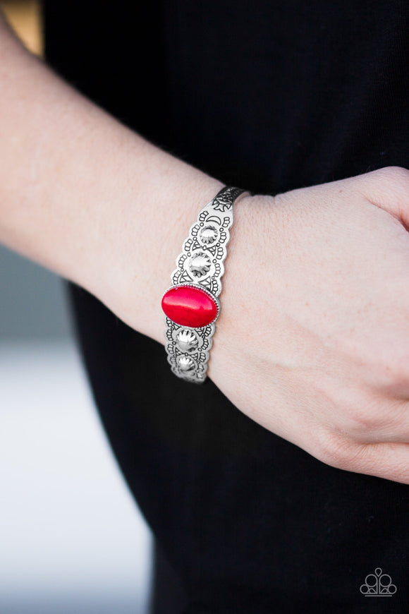 Paparazzi Desert Escapade - Red - Stone - Shimmery Silver Cuff Bracelet - Lauren's Bling $5.00 Paparazzi Jewelry Boutique