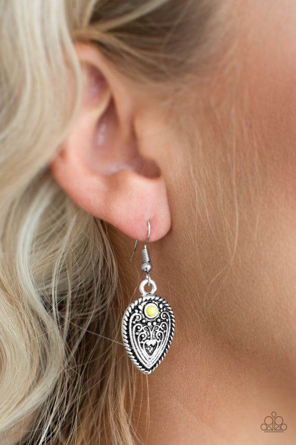 Paparazzi Distance PASTURE - Yellow Bead - Antiqued Textures Silver Teardrop Earrings - Lauren's Bling $5.00 Paparazzi Jewelry Boutique