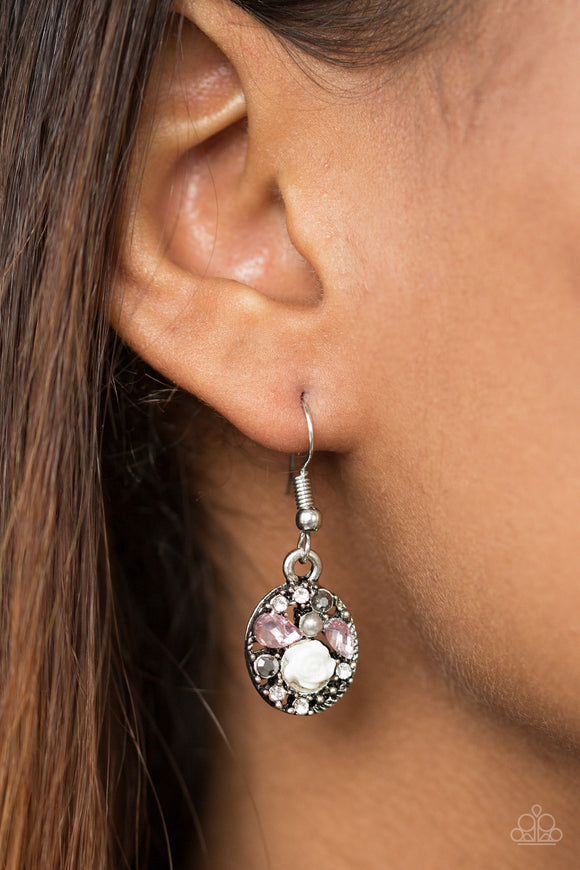 Paparazzi Pretty Perennial - Pink Rhinestones - Earrings - Lauren's Bling $5.00 Paparazzi Jewelry Boutique