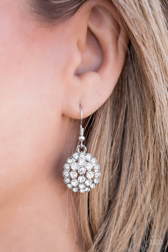 Paparazzi Runway Ready - White Rhinestones - Blinding Silver Frame - Earrings - Gorgeous! - Lauren's Bling $5.00 Paparazzi Jewelry Boutique