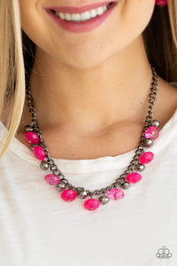 Paparazzi Runway Rebel - Pink - Gunmetal Necklace & Earrings - Lauren's Bling $5.00 Paparazzi Jewelry Boutique