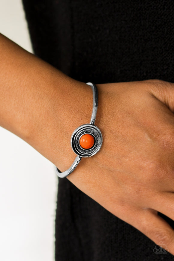 Paparazzi Sahara Sunshine - Orange - Bead - Silver Cuff Bracelet - Lauren's Bling $5.00 Paparazzi Jewelry Boutique