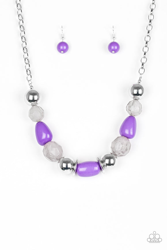 Paparazzi South Shore Sensation - Purple - Faceted Beads - Necklace and matching Earrings - Lauren's Bling $5.00 Paparazzi Jewelry Boutique