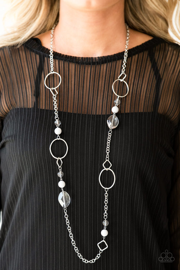Paparazzi Very Visionary - Silver - Gray Beads - Shimmery Silver Chain Necklace - Lauren's Bling $5.00 Paparazzi Jewelry Boutique