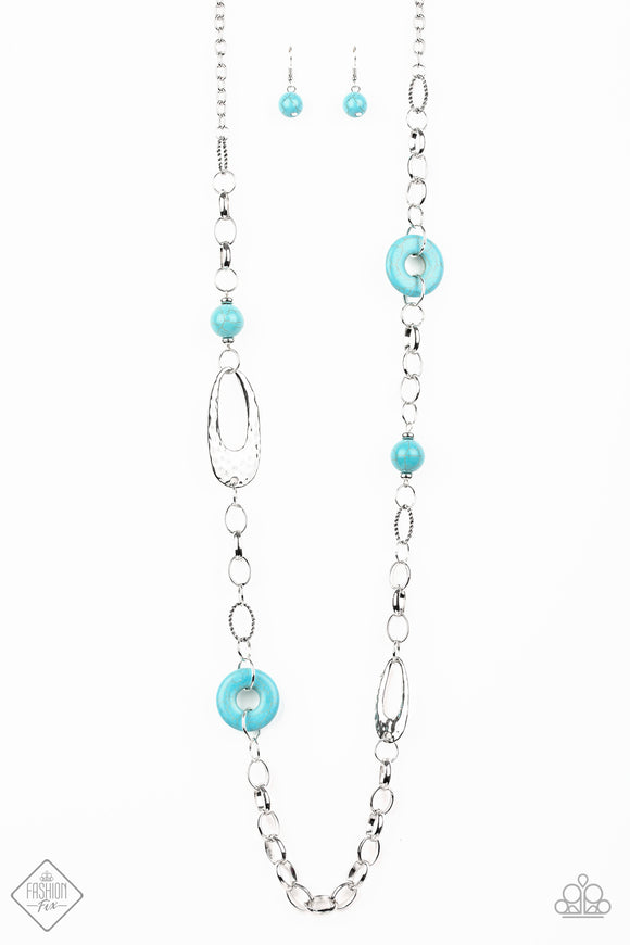 Paparazzi Artisan Artifact - Blue Turquoise Stone - Large Silver Links Necklace - Fashion Fix Exclusive September 2019 - Lauren's Bling $5.00 Paparazzi Jewelry Boutique