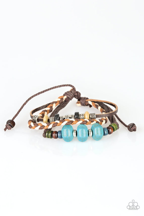 Paparazzi Catch Me CLIFF You Can - Blue - Turquoise Stone - Wooden Beads - Braided Leather Sliding Knot Bracelet