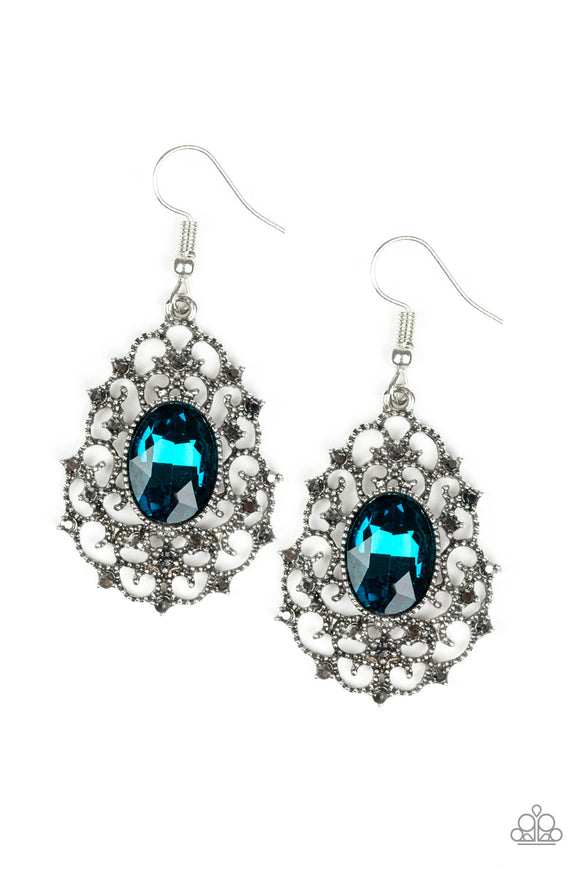 Paparazzi Regal Razzle - Blue Gem - Frilly Antiqued Silver - Hematite Rhinestones - Earrings - Lauren's Bling $5.00 Paparazzi Jewelry Boutique