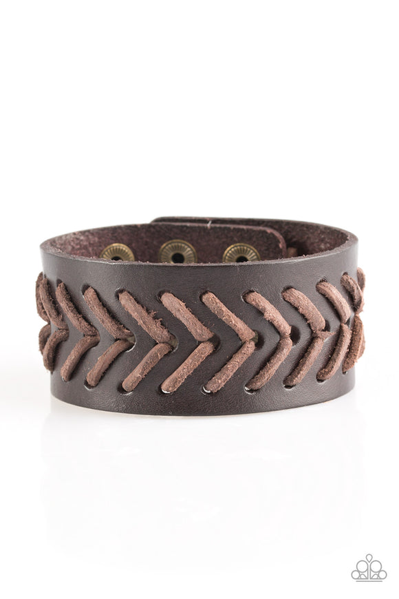 Paparazzi Take Me Out To The Ball Game - Brown - Thick Leather Band - Bracelet - Lauren's Bling $5.00 Paparazzi Jewelry Boutique