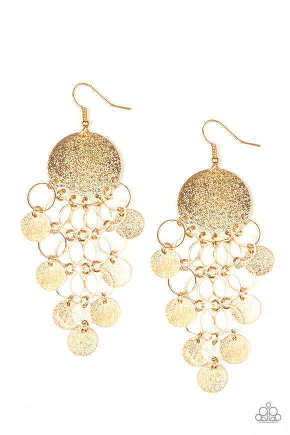 Paparazzi Turn On The BRIGHTS - Gold - Rings and Discs - Earrings - Lauren's Bling $5.00 Paparazzi Jewelry Boutique