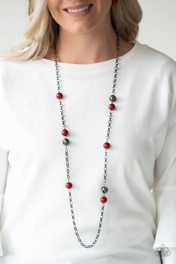 Paparazzi Fashion Fad - Red - Ornate Gunmetal Necklace & Earrings - Lauren's Bling $5.00 Paparazzi Jewelry Boutique
